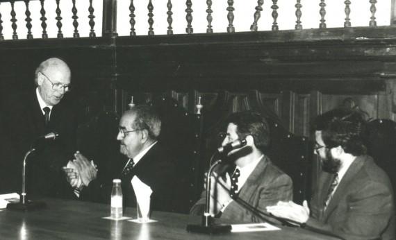 3 Alfonso Ortega, Baquero, De Vicente y Alfredo Pérez Alencart, en la Pontificia (foto España, 1993)