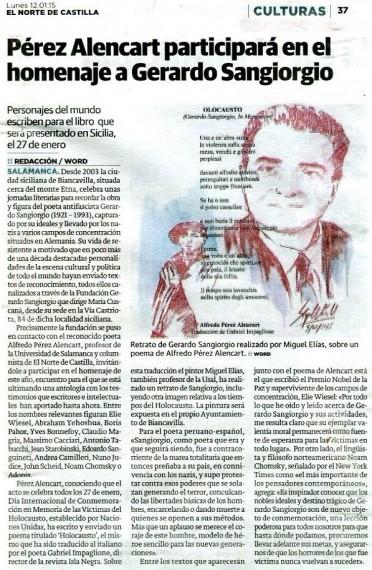 6 Noticia del homenaje a Sangiorgio (El Norte de Castilla, Salamanca, 12-1-2014)
