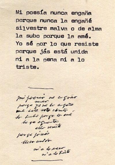 4 Poema inédito manuscrito y mecanografiado