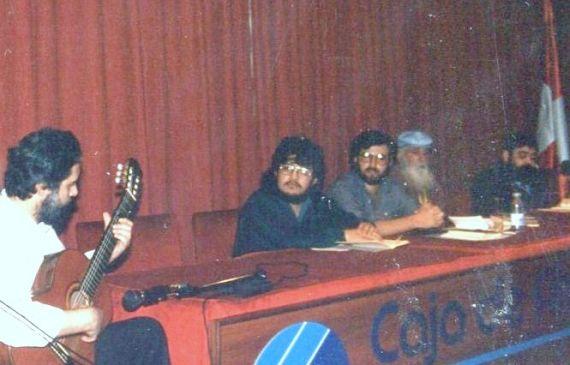 7 Quini, Pacheco, Alencart, Adares y Santoloya, durante el homenaje en Caja Duero (Foto de Jacqueline Alencar, 1988)