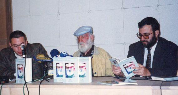 Vacas, Adares y Alencart, presentando Mi barca ya está hecha (Foto de Luiz Monzón, 1999).