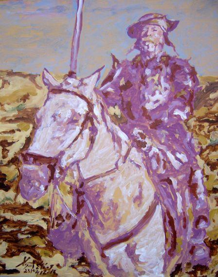 1 Don Quijote, pintura de Miguel Elías hecha este 23 de abril, día del Libro y de las Letras Españolas