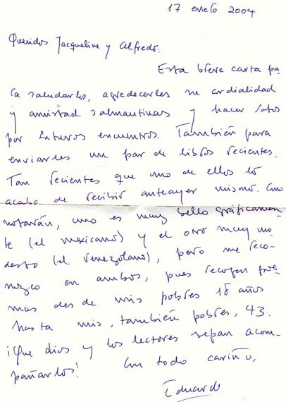 14 Carta de Eduardo Chirinos a Jacqueline y Alfredo Pérez Alencart