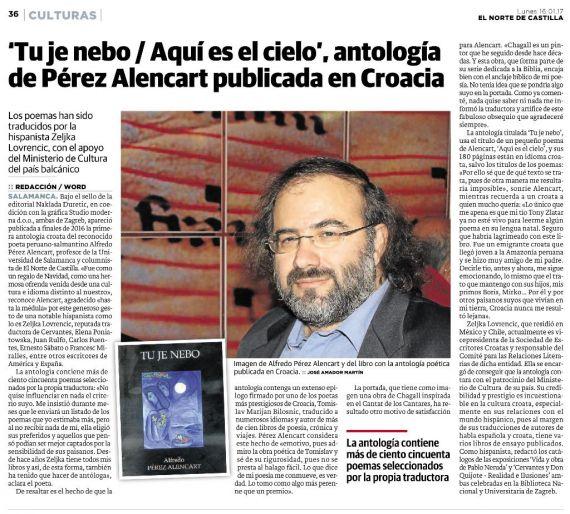 14 Antología de Pérez Alencart publicada en Croacia (El Norte de Castilla, 16-1-2017)