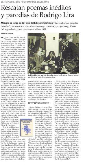 10 Libro de Rodrigo Lira editado por Marcelo Gatica. Reseña de El Mercurio