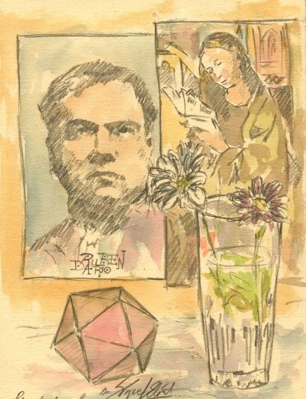 8 Rubén Darío, dibujo de Miguel Elías