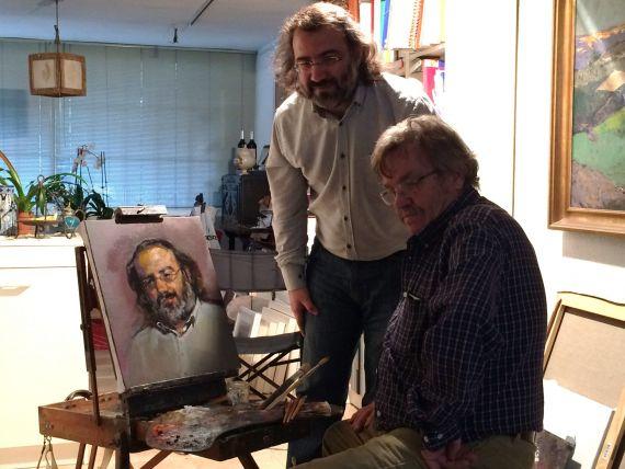 10 Pintor y retratado, junto al fruto del arte y el afecto