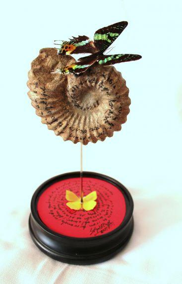 4 Escultura poema visual 'Pasaporte el corazón', de Miguel Elías sobre texto de Alencart