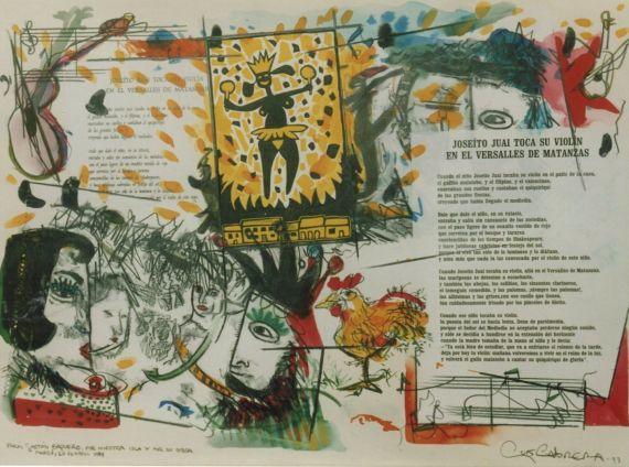 4 Pintura de Luis Cabrera sobre poema de Baquero (_Joseíto Juai toca su violín en el Versalles de Matanzas_) 1993. Entregada en su homenaje salmantino