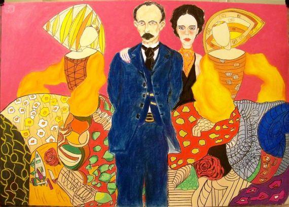 7 José Martí y Carmen Miyares con las bailarinas españolas, de Pedro Ramón Gómez - copia