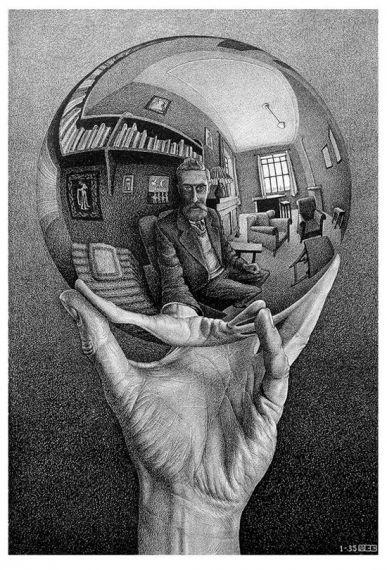 9 Mano con esfera reflectante, de Escher