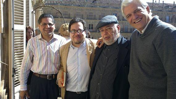 9 De izquierda a derecha los poetas Aníbal Fernando Bonilla, Gabriel Chávez Casazola, José Pulido y Rafael Soler (foto de Jacqueline Alencar)