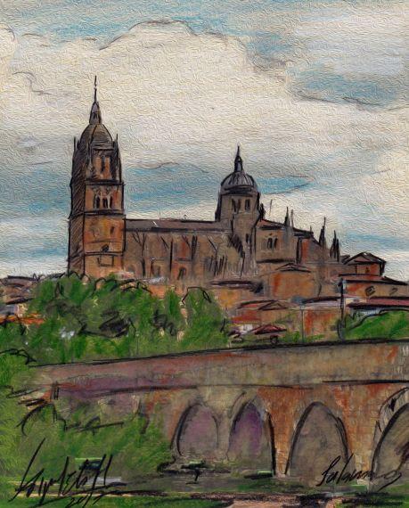 2 Puente romano y Salamanca, de Miguel Elías, portada del poemario