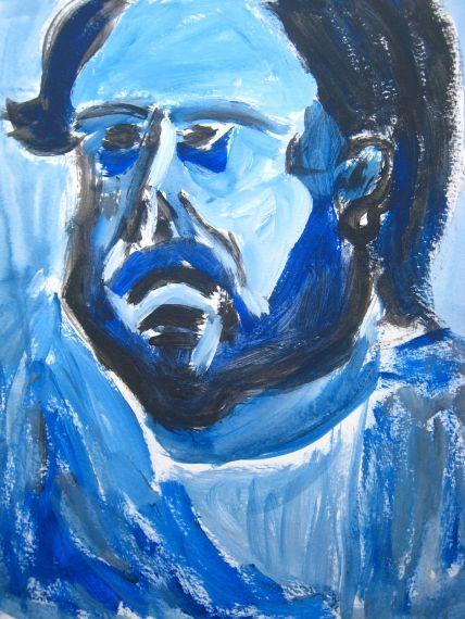 2 Retrato de hombre con barba en azul, blanco y negro casi de perfil, de Pepe Farrés