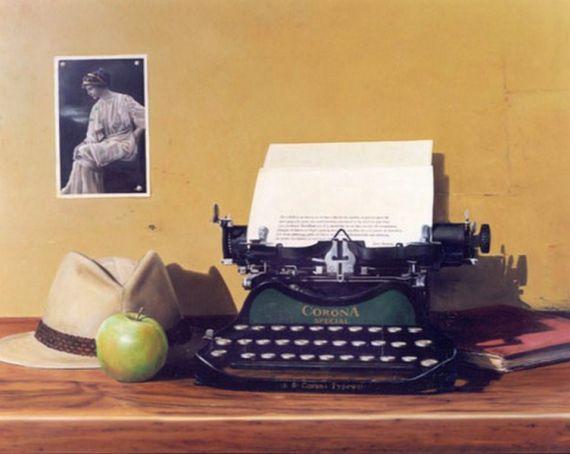 3 Pintura con maquina de escribir, sombrero y manzana, de Jesús Navarro