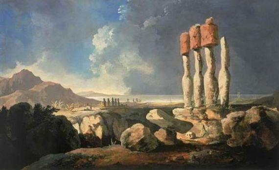 1 La primera pintura conocida sobre la Isla de Pascua, de William Hodges (1775)