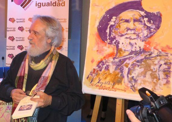 1 Enrique Gracia Trinidad junto al Quijote de Miguel Elías (Foto de Jacqueline Alencar)