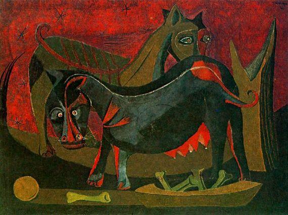 4 Dos perros, de Rufino Tamayo