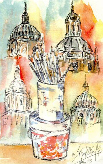 7 Pinceles y Salamanca al fondo, de Miguel Elías