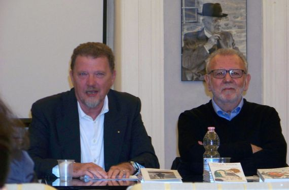 3 El editor Walter Rafaelli y Óscar Hahn (Urbino, septiembre de 2017)