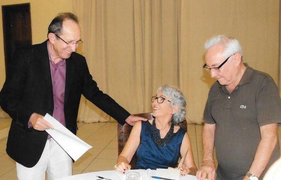 Con el presidente de la ANL, Diógenes da Cunha Lima y el médico y escritor Damião Nobre_