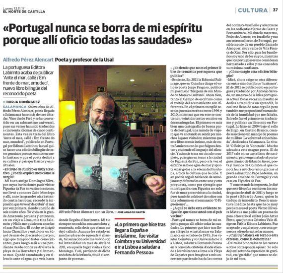 11 Ante el mar, callé, Entrevista a A. P. Alencart (El Norte de Castilla)
