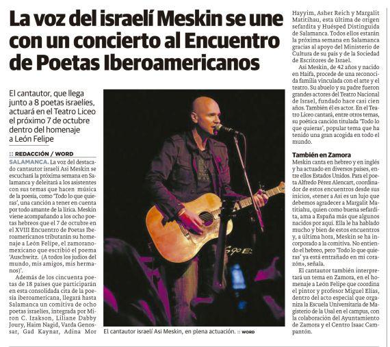 15 Noticia de la actuación de Asi Meskin