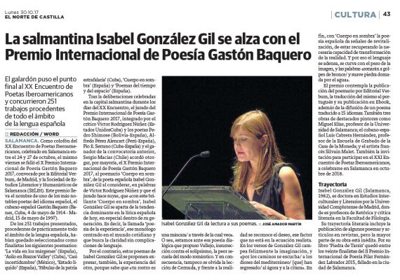 17 Premio Gastón Baquero para la salmantina Isabel González Gil (El Norte de Castilla)