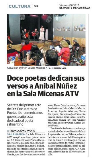 22 XX Encuentro Primeras lecturas en homenaje a Aníbal Núñez (El Norte de Castilla)