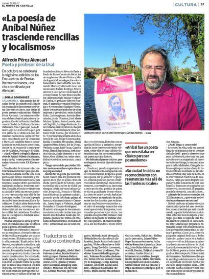 5 Entrevista a A. P. Alencart sobre el homenaje a Aníbal Núñez (El Norte de Castilla)