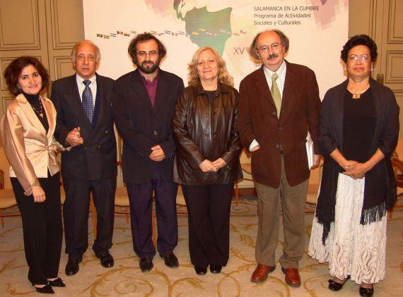 5 Jacqueline Alencar (Bolivia), César López (Cuba), A. P. Alencart (Perú-España), Ana María Rodas (Guatemala), Antonio Colinas (España) y Ana Ilce Gómez (Nicaragua)