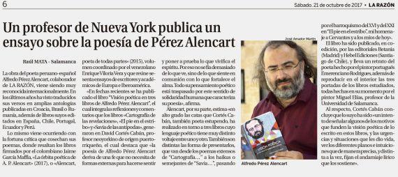 9 Noticia sobre Visión poética de Alfredo Pérez Alencart (La Razón)
