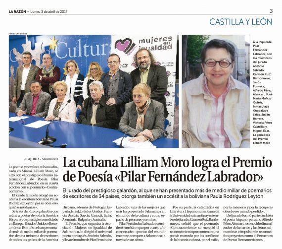 1 Lilliam Moro, Premio Internacional de Poesía Pilar Fernández Labrador (La Razón)