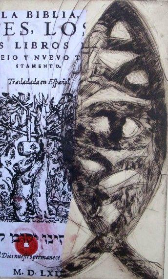4 Icthus, grabado con página de la Biblia del Oso, de Miguel Elías
