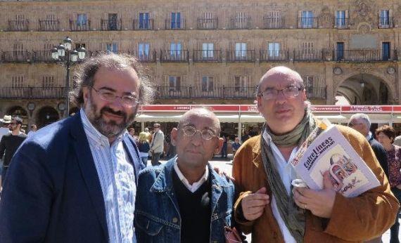 2 Alencart, González Lamelas y Muñoz Quirós, en la Plaza Mayor (Foto de Jacqueline Alencar)