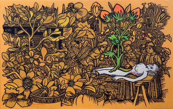 2 Segunda revisión o repintada al cuadro de La Muerte del Jardinero Vegano