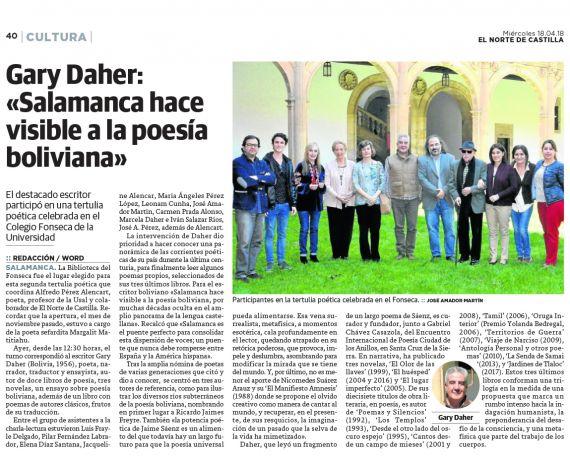 21 Gary Daher Salamanca hace visible a la poesía boliviana
