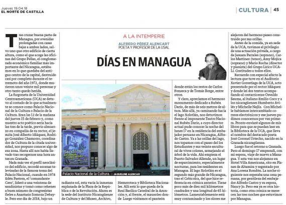 9 Días en Managua(El Norte de Castilla, jueves 19-4-2018)
