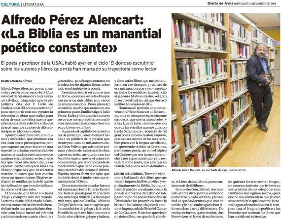 9 Entrevista de David Casillas a A. P. Alencart en Ávila (El donoso escrutinio)