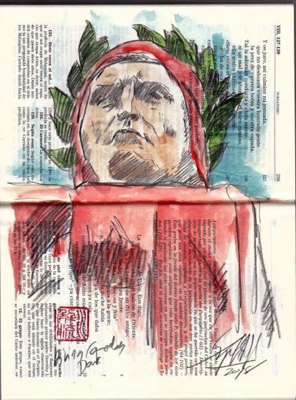 13 Dante contemplando desde el Infierno la entrada al Purgatorio (Boceto de Miguel Elías)
