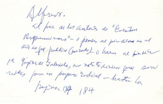 8 Manuscrito de Gastón Baquero dirigido a A. P. Alencart