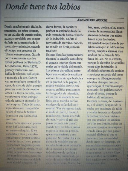 10 Artículo de Juan Antonio Massone sobre la poesía de Stefania Di Leo (Chile)