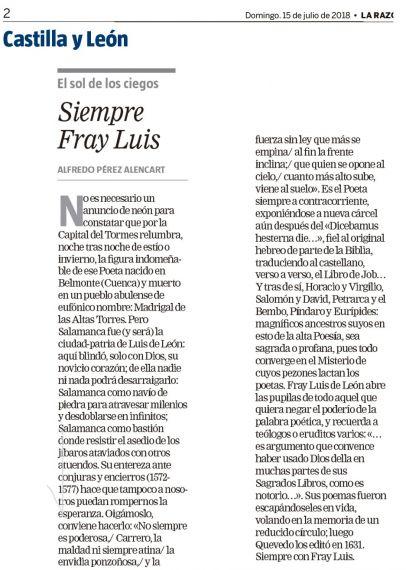 12 Artículo de A. P. Alencart Siempre Fray Luis (La Razón)
