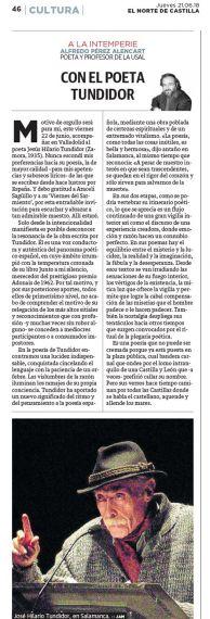 13 Artículo de A. P. Alencart sobre el poeta Tundidor (El Norte de Castilla)