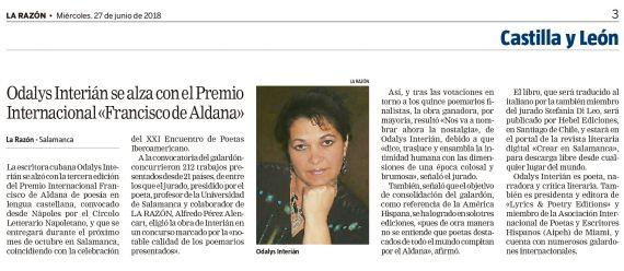 14 Premio Aldana (Noticia en La Razón)