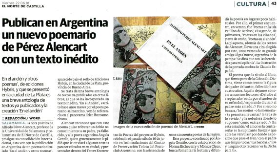 21 En el Andén y otros poemas, de A. P. Alencart (El Norte de Castilla)