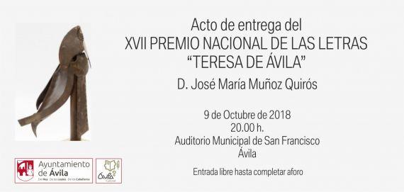 18 Entrega del Premio Teresa de Ávila al poeta José María Muñoz Quirós