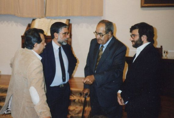 1A Rodríguez Coronel, Bergasa, Baquero y Alencart, en el Aula Salinas de la Universidad de Salamanca (1992, foto de Jacqueline Alencar)