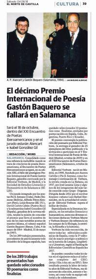 21A Premio Gastón Baquero