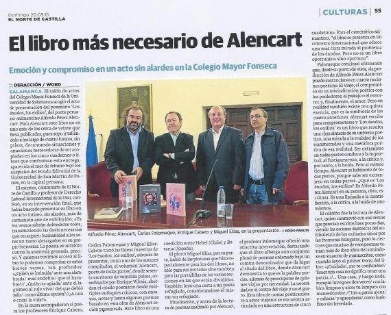 4 Noticia de prensa sobre Los éxodos, los exilios, de Alencart
